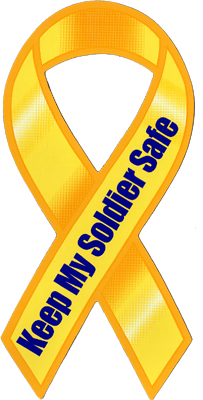 "8"" Yellow Ribbon Magnet Keep My Soldier Safe"