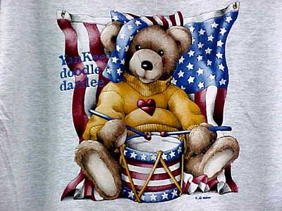 Bear With Flag/Drum Gray T-Shirt